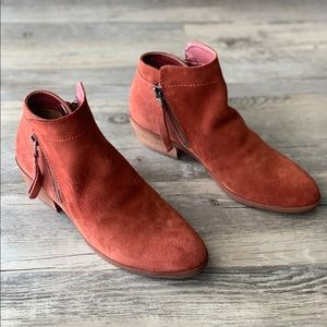 Sam Edelman Red Suede Packer Block Heel Bootie
